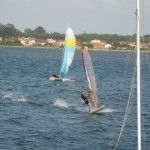 Windsurfing session  on the lagoon