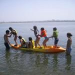 Campo de féria com canoagem na ria de Aveiro