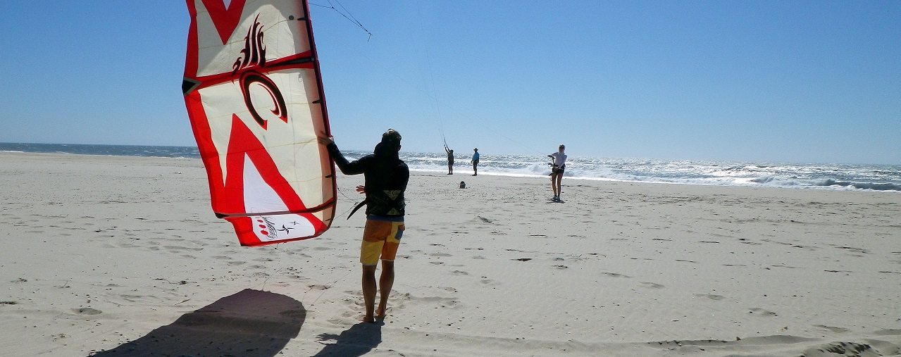 Nivel inicial do curso de kitesurf na escola riactiva